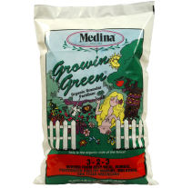 Medina Growin Green Organic Fertilizer is a natural Fertilizer for all of your gardening needs. It is derived from Kelp Meal, Humate, Pasteurized Poultry Manure, Molasses, and Greensand.